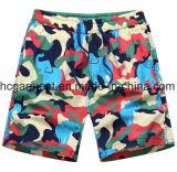Shorts de tecido de tecido de nylon, shorts de praia impressa para homem