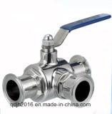 Válvula de bola acorazada sanitaria de tres vías (ISO IDF SMS 3A BS)