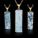 Gouden Halsband van de Tegenhanger van de Rechthoek Crycal van de Juwelen van de manier de Cyaan Natuurlijke