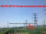 Башня стержня передачи цепи Megatro 220kv 2D1 Sdj двойная