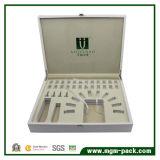 Weißes Leder-kundenspezifischer kosmetischer Luxuxkasten
