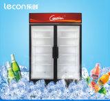 Refrigerador refrigerando da cerveja do ventilador comercial da porta dobro