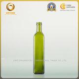 botella de petróleo de cristal vacía verde 500ml con el tapón de tuerca (019)