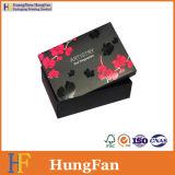 Caja de cartón de empaquetado de papel del regalo del diseño negro de lujo de la impresión