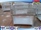 Jaula plegable galvanizada amontonable del metal del alambre del almacenaje (FLM-K-014)