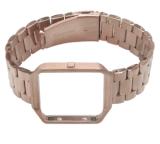 voor de Band van de Uitbarsting Fitbit, de Slimme Band van het Horloge Wearlizer met de Riem van de Vervanging van het Roestvrij staal van het Frame van het Metaal voor Uitbarsting Fitbit - nam Gouden Buitengewoon brede Grootte toe