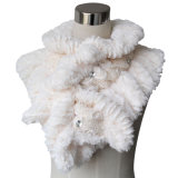Senhora de algodão de moda de peles de poliéster tricotadas lenço Xale (YKY4365B-1)