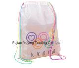sac à dos en nylon de sac de cordon du polyester 210d blanc