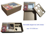 Personalisierte Farbdruckkarte Geschenkbox für Weinset Stopper Zubehör Verpackung mit Fenster