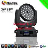 ズームレンズLEDの移動ヘッド洗浄との1の36X15W段階の照明RGBW 4