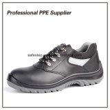 PU de doble densidad de cuero auténtico de inyección de zapatos de seguridad