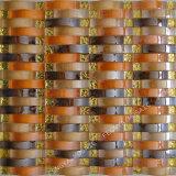 アーチガラスモザイク、オレンジ色ガラスタイル、タイル