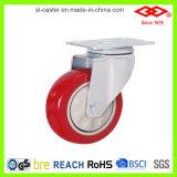 Platine pivotante 125 mm avec roulette en PVC à roulement de frein (P120-35E125X32S)