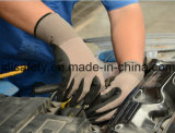 Нейлон и связанная Spandex перчатка работы с 3/4 окунать нитрила Sandy (N1571)