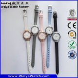 ODMの偶然の方法革バンドの水晶女性腕時計(Wy-084B)