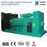 Hochspannungsset des generator-2500kVA 10-11kv mit Googol Motor 50Hz