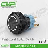 瞬時かプラスチック押しボタンのプラスチックスイッチ(MP19P/F11-D)を受けとる19mm