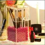 "Maquillaje Pincel de acrílico transparente Caja de la pantalla de 3.9"" x 3.9"" x 8.3 pulgadas, 5mm Thinckness"