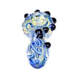 Tubulação de vidro da mão da tubulação da colher da tubulação de fumo da listra azul da tubulação