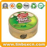 Round Doces Doces de Natal Mint Caixa de estanho para prendas de Natal