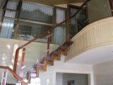Balaustrada de vidro montada resistente & de Longetime do corrimão lado de madeira