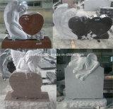 墓のための黒くか灰色または赤い大理石または花こう岩の天使の墓石