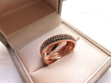 De charmante Dubbele Ring van de Diamant van de Verklaring Volledige met de Zwarte Steen van CZ