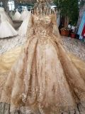 Robe de mariage musulmane d'arrivée de bille de robe de lacet de configuration d'or neuve de lame