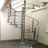 Escalier spiralé en acier avec la semelle en bois solide pour l'intérieur
