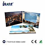 Venta caliente de 7 pulgadas LCD Video Folleto impreso/tarjeta de vídeo digital