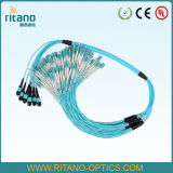 Integrado de alta 48 core MPO-LC Dx Om3 Aqua Breakout Cable troncal de puente de fan-out