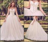Trägerlose Hochzeits-Kleid-wulstige Luxuxspitze-Tulle-Brautballkleid H1318