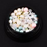 ネイリングしなさい宝石箱の多彩なラインストーンの水晶を+小型鋼鉄ビード+装飾の釘の芸術(NR-06)のための球形の陶磁器の真珠