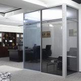 Portello poco costoso del divisorio dell'ufficio di vetro glassato di prezzi con la feritoia di alluminio