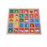 Il bambino di legno di domino del giocattolo scherza i blocchetti di alfabeto di formazione