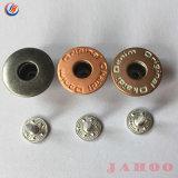 Logotipo Denim de alta qualidade em relevo o botão da haste redonda de metal de bronze para roupas