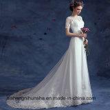 型の短い袖のウェディングドレス形式的な浜の結婚のパーティー向きのドレス
