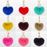 Любители природы сердце цепочке для ключей для мобильного телефона и очарование Furry подушек безопасности цепочки ключей Poms
