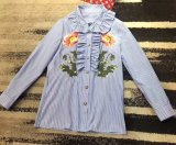 Свежие цветы с вышитым Ruffled Хлопок рубашки блуза из двух цветов