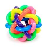 De kleurrijke Klokken Geweven Bal van het Huisdier van de Regenboog van het Stuk speelgoed van de Hond van de Bal Correcte