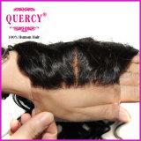 バージンのRemyの毛の中間の部品の深い波のレースの閉鎖の絹のレースの上の閉鎖