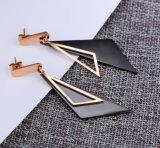 Trendy Zwarte Schuine Driehoekige Geometrische Vrouwelijke Roestvrij staal van de Oorringen van de Daling van het Patroon bengelt Oorringen voor Vrouwen