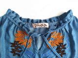 Верхние части бака изготовленный на заказ вышивки джинсовой ткани женщин помытых способом