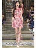 熱い販売の高品質の夏のヨーロッパの方法花の印刷された袖なしのブラウスおよびスカートはスーツ2部分のセットした