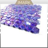 mosaico di vetro lucido di esagono dell'azzurro di cobalto di 25X25mm per le mattonelle della stanza da bagno della cucina