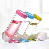 Umweltfreundlicher Zylinder-leere doppel-wandige aufprallende geöffnete trinkendes Glas-Wasser-Flasche