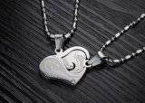 Manier 1 juwelen van de Halsband van de Minnaars van het Roestvrij staal van de Tegenhanger van het Bergkristal van de Vorm van de Harten van de Halsband van de Tegenhanger van het Paar van de Minnaars van het Paar Passende