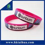 Pulseira de Silicone coloridas personalizadas e pulseira com cor cheia/ Impressão de logotipo