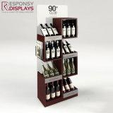 Fußboden-Metalleinkaufszentrum-Wein-Bildschirmanzeige-Zahnstange mit Vorsatz