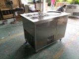 Máquina del helado del rodillo de la cacerola doble con el envase de la fruta 6PCS